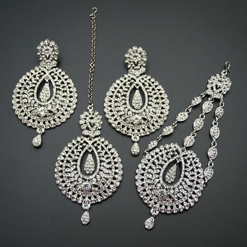 Kyra White Diamante Earring Tikka and Passa/Jhoomer Set - Silver