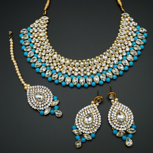Komal White Diamante/TurquoiseBeads Choker Necklace Set - Gold