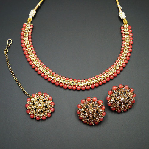 Udip - Gold Polki Stone/Coral Beads Necklace Set- Antique Gold