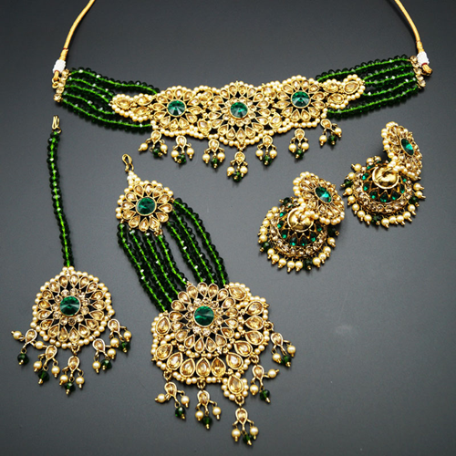 Arobi - Green/Gold Kundan Choker Necklace Set - Gold