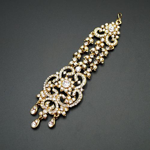 Japa White Diamante Tikka - Gold