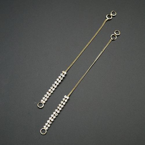 White Stone Diamante Sahara for Earrings- Gold