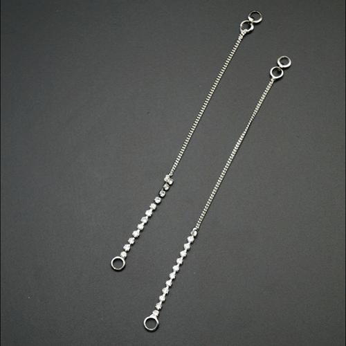 White Stone Diamante Sahara for Earrings- Silver