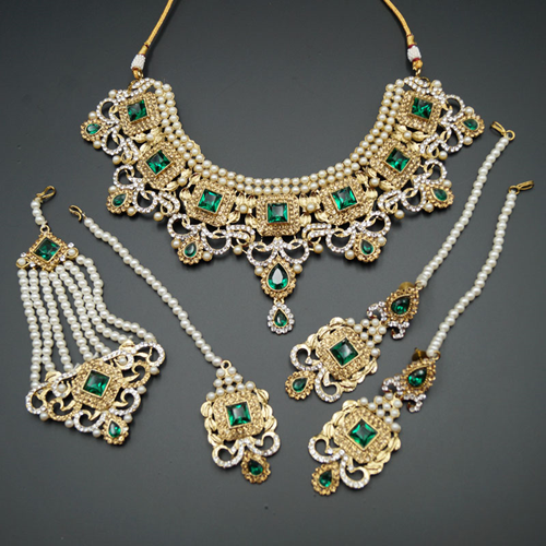Shashi - Green/ Gold -White Diamante Necklace Set - Gold