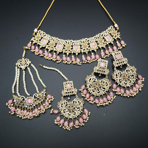 Kimi- Baby Pink/White Polki Choker Set - Antique Gold