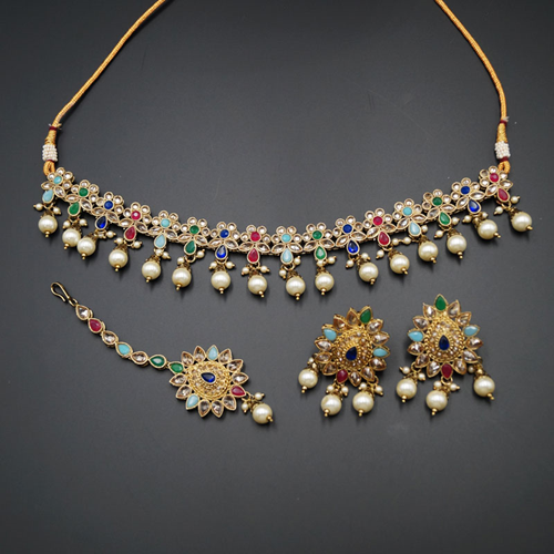 Faiza - Multicolour Choker Necklace Set - Antique Gold