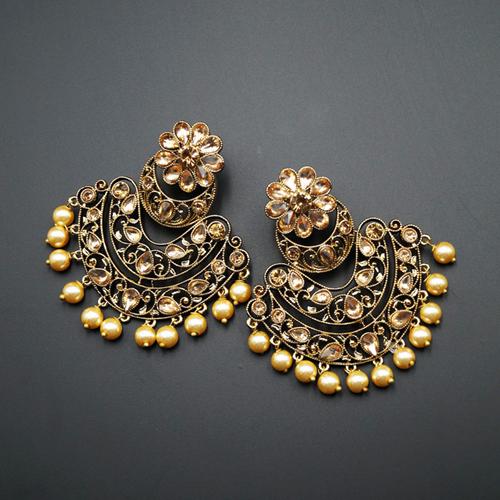 Nari - Gold Kundan Stone Earrings - Antique Gold