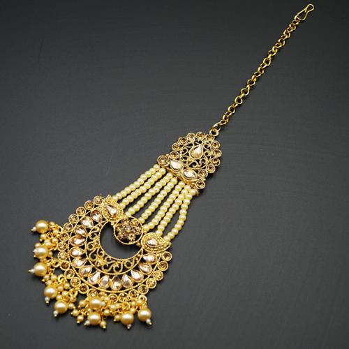 Eana - Gold Diamante Stone Tikka - Gold