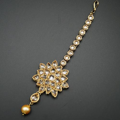 Vya - Gold Polki Stone Tikka - Antique Gold