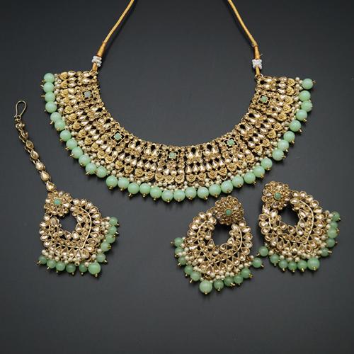 Lara Gold Kundan/Mint Beads Necklace Set - Antique Gold