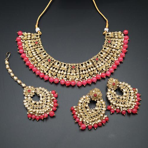 Lara Gold Kundan/Coral Beads Necklace Set - Antique Gold