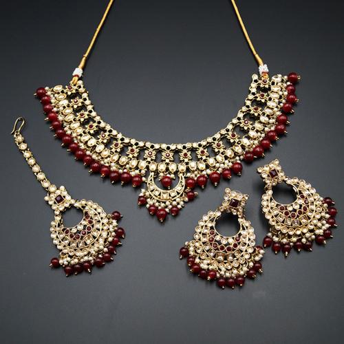 Rada Maroon & Gold Kundan Necklace Set - Antique Gold