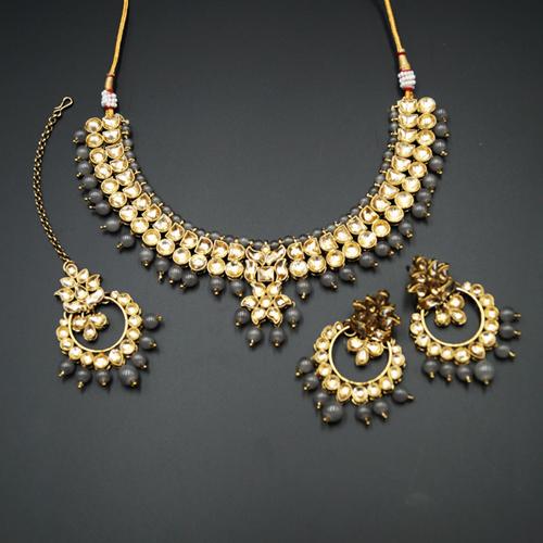 Jami Gold Kundan/Grey Beads Necklace Set - Antique Gold