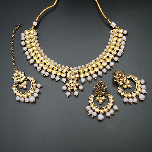 Jami Gold Kundan/Baby Pink Beads Necklace Set - Antique Gold
