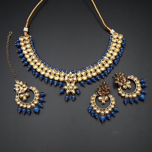 Jami Gold Kundan/Navy Blue Beads Necklace Set - Antique Gold