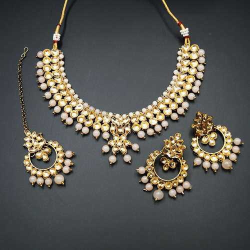 Jami Gold Kundan/Peach Necklace Set - Antique Gold