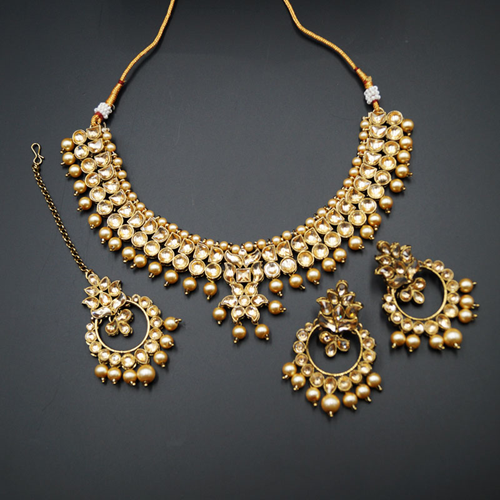 Jami Gold Kundan/Champagne Pearl Necklace Set - Antique Gold
