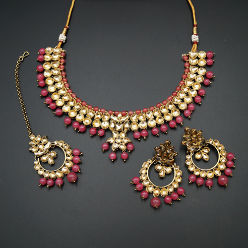 Jami Gold Kundan/Coral Beads Necklace Set - Antique Gold