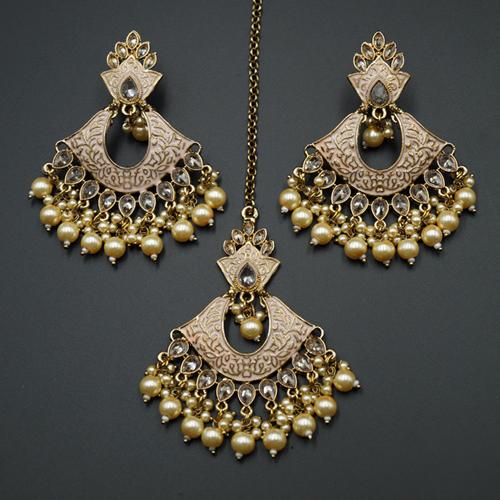 Jayu Dusky Pink Meenakari Earring Tikka Set - Antique Gold