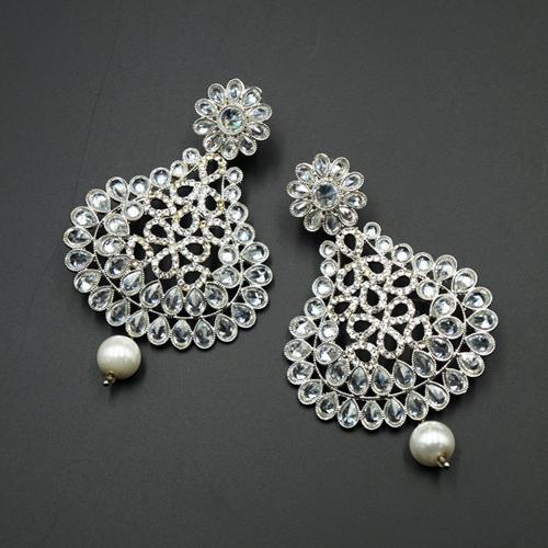 Veda White Polki Stone Earrings - Silver