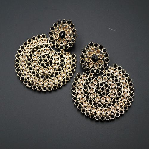 Writi Black & Gold Polki Stone Earrings - Gold