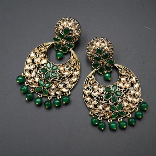 Jian Green & Gold Stone Earrings - Antique Gold