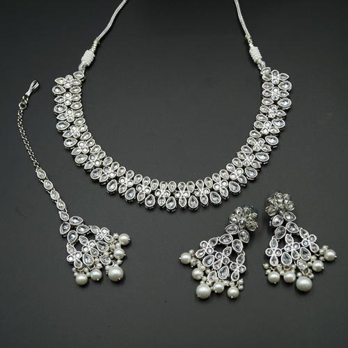 Tiaa White Polki Stone Necklace Set - Silver
