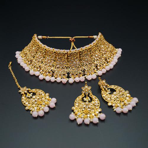 Saee Gold Polki Stone/Baby Pink Beads Choker Necklace Set - Gold