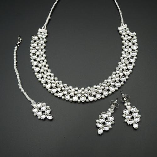 Nain White Kundan Necklace Set - Silver