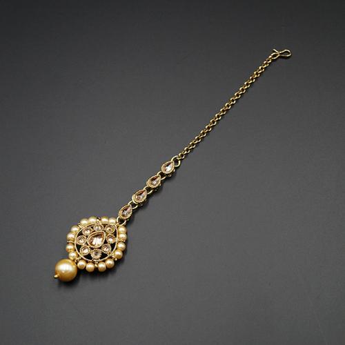 Wafa Gold Polki Stone Tikka - Antique Gold