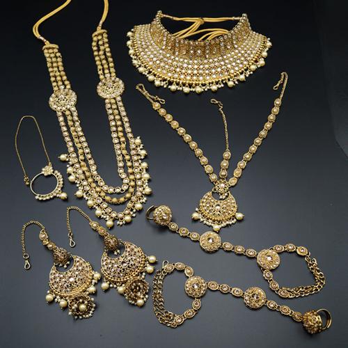 Sarv Gold Polki Stone Bridal Set - Antique Gold