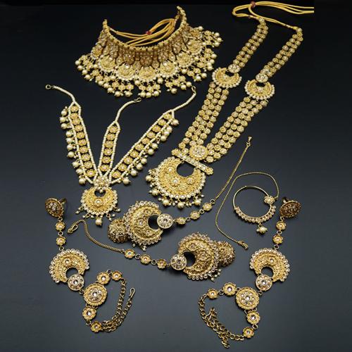 Taani Gold Polki Stone Bridal Set - Antique Gold
