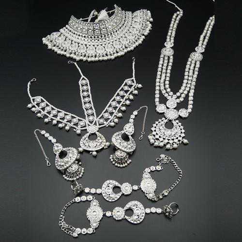 Qias White Kundan Stone Bridal Set - Silver