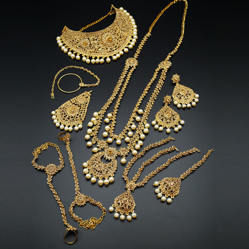Vaju Gold Diamante & Pearl Bridal Set - Gold