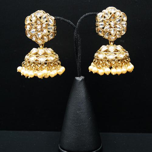 Eva Gold Polki Stone Jhumka- Antique Gold
