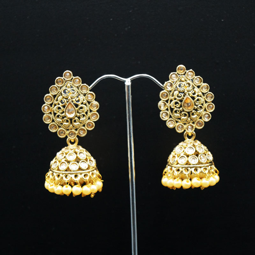 Jaki Gold Polki Stone and Pearl Jhumka - Antique Gold
