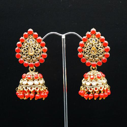 Jaki Gold/Red Polki Stone  Jhumka - Antique Gold