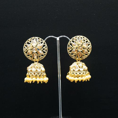 Tai Gold Polki Stone and Pearl Jhumka - Antique Gold