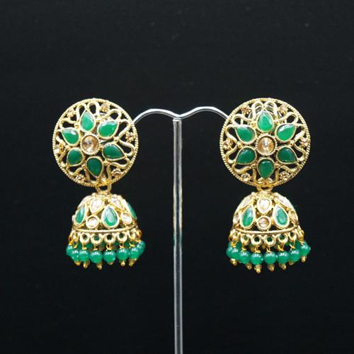 Tai Gold/Green Polki Stone Jhumka - Antique Gold