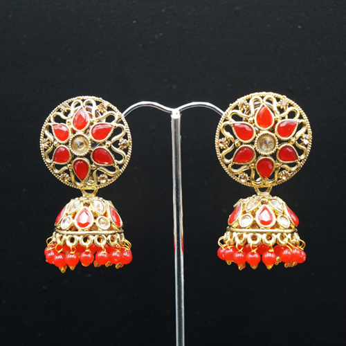 Tai Gold/Red Polki Stone Jhumka - Antique Gold
