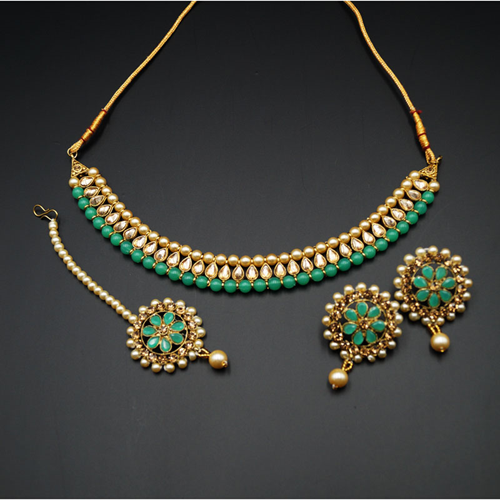 Bagya Gold Diamante/Pista Necklace Set - Antique Gold