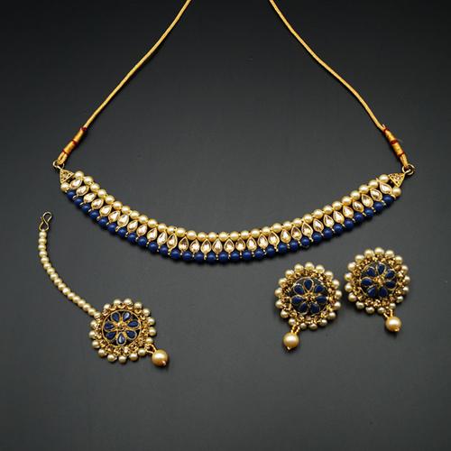 Bagya Gold Diamante/Blue Necklace Set - Antique Gold
