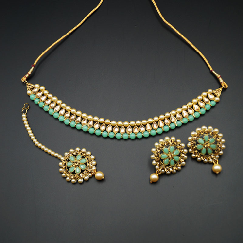 Bagya Gold Diamante/Mint Necklace Set - Antique Gold