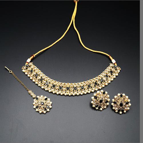Turvi Gold/ Black Polki Stone Necklace Set - Antique Gold