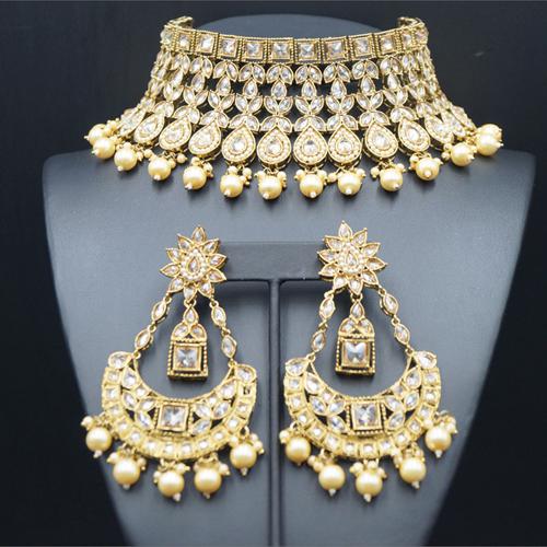 Himaja - Gold Polki Choker Necklace Set - Antique Gold