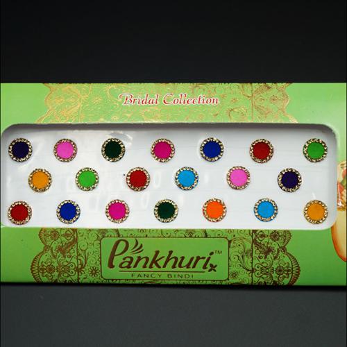 Pankhuri - Velvet Multi Pack of Round Gold Diamante Dot Bindi-10mm