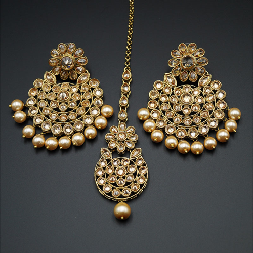 Anwa Gold (LCT) Polki Stone and Pearl Earring Tikka Set - Antique Gold