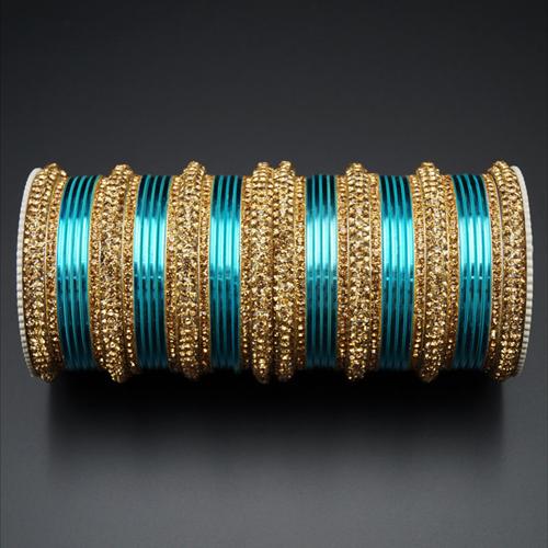 Jahanvi  Gold Diamante and  Light Blue Set - Gold