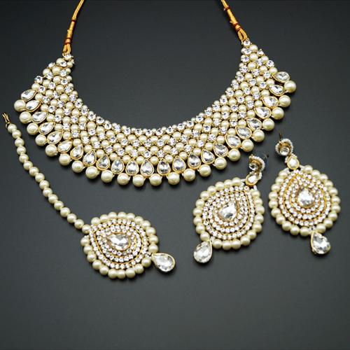 Lira White Diamante and Pearl Choker Necklace Set - Gold