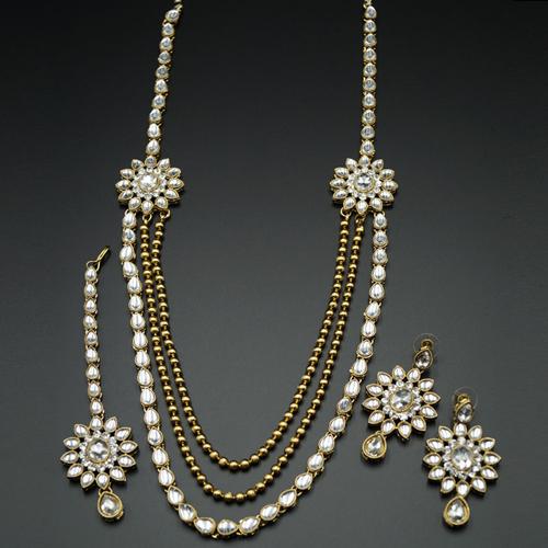Geena White Kundan and Diamante Rani Haar Set - AntiqueGold